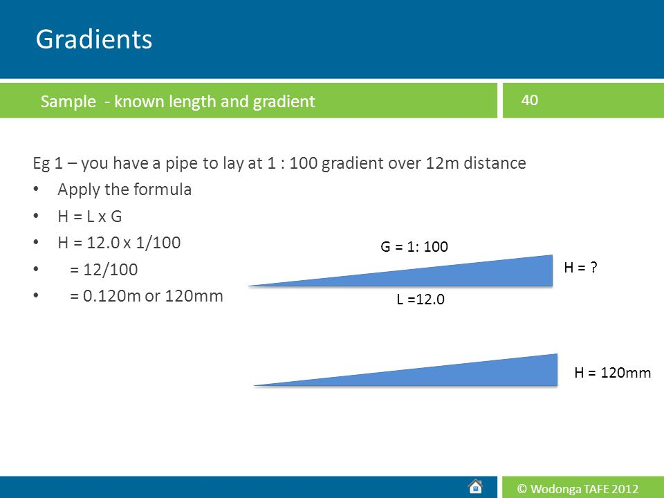 Gradients Sample - known length and gradient