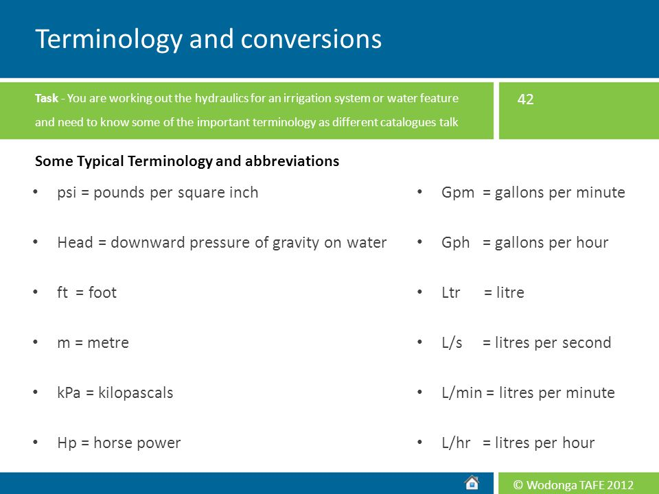 Terminology and conversions