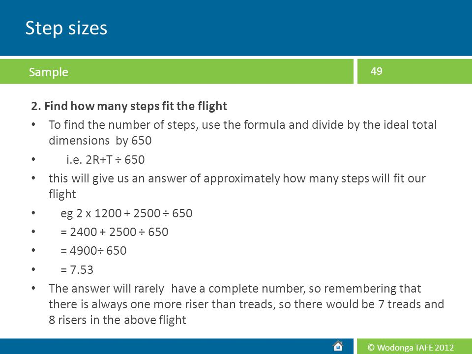 Step sizes Sample 2. Find how many steps fit the flight