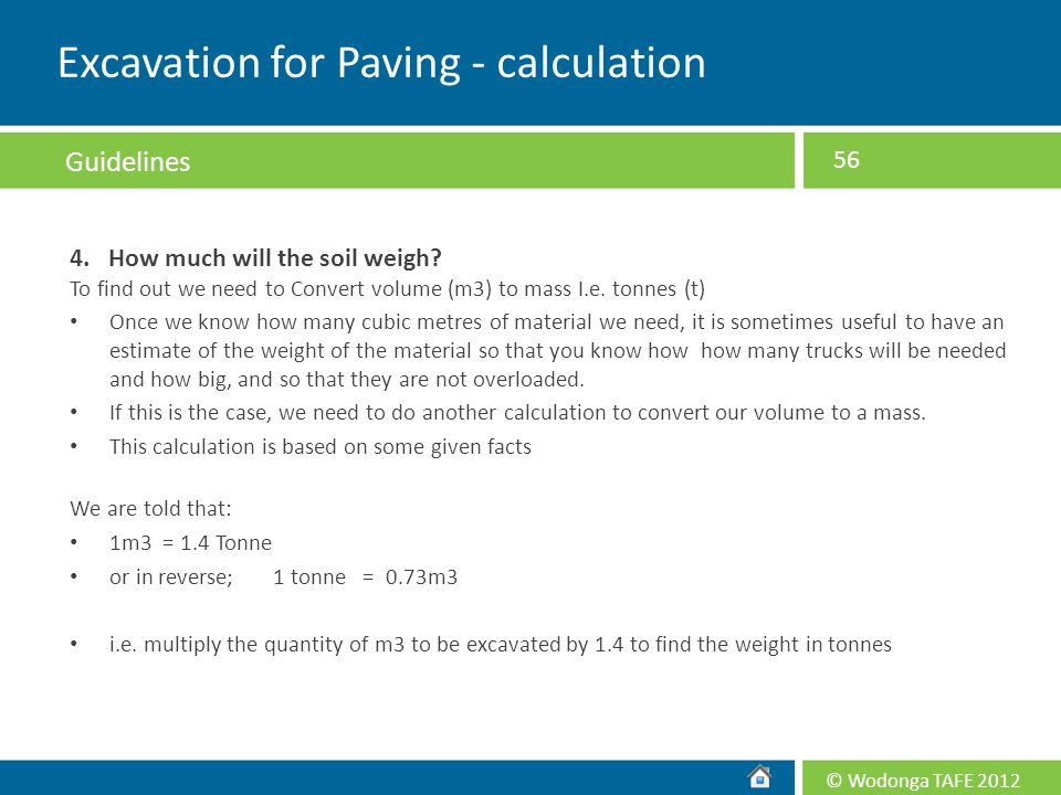 Excavation for Paving - calculation