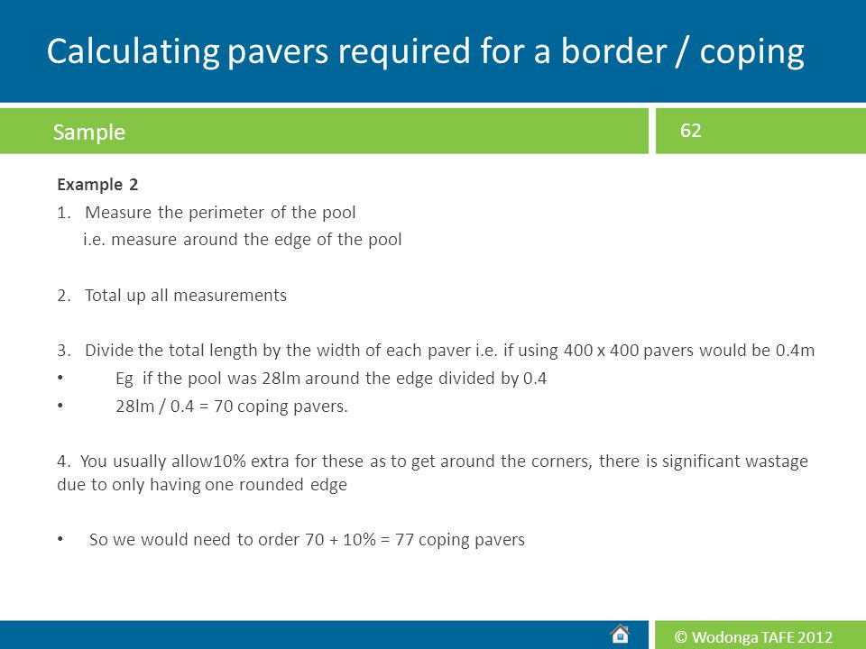 Calculating pavers required for a border / coping