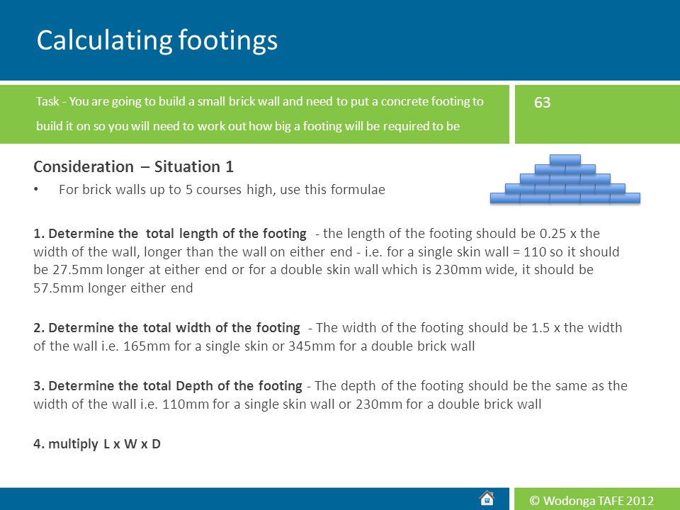 Calculating footings Consideration – Situation 1