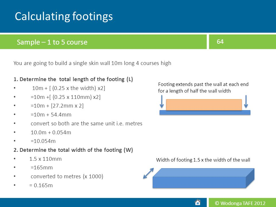 Calculating footings Sample – 1 to 5 course