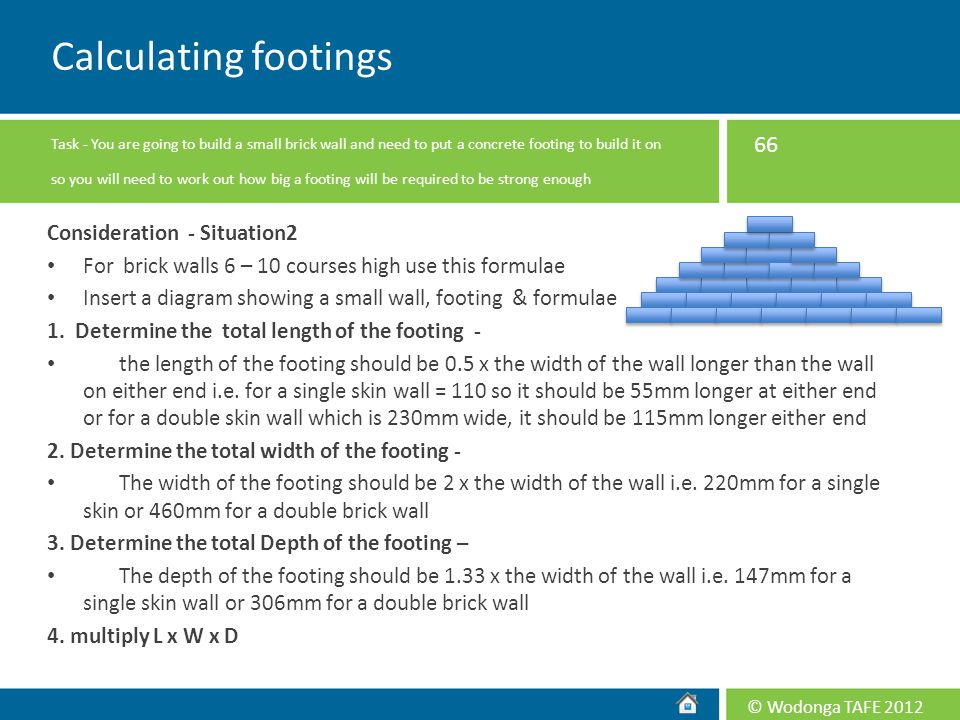 Calculating footings Consideration - Situation2