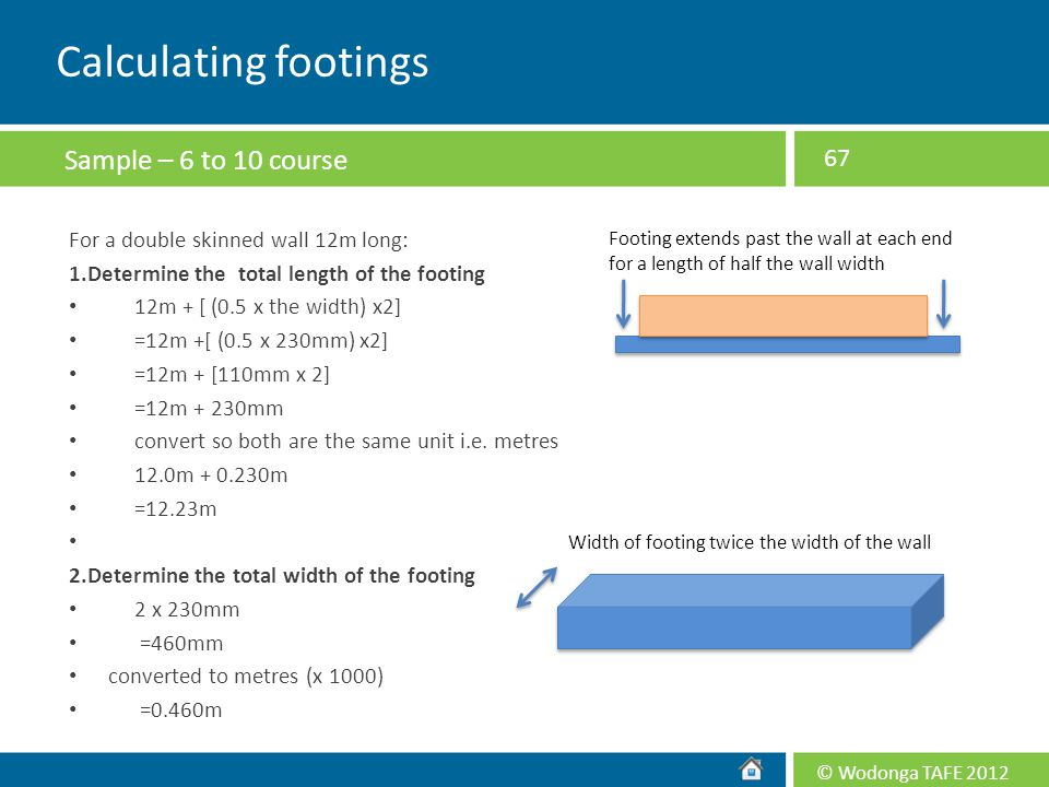 Calculating footings Sample – 6 to 10 course