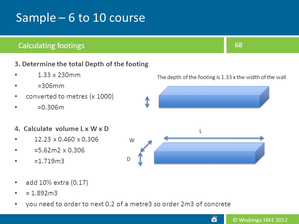 Sample – 6 to 10 course Calculating footings