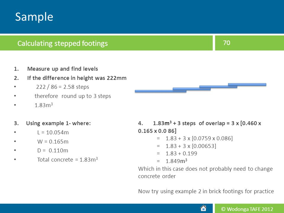 Sample Calculating stepped footings 1. Measure up and find levels