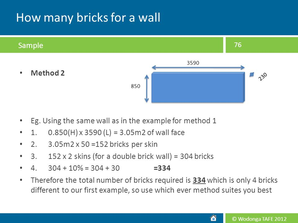 How many bricks for a wall