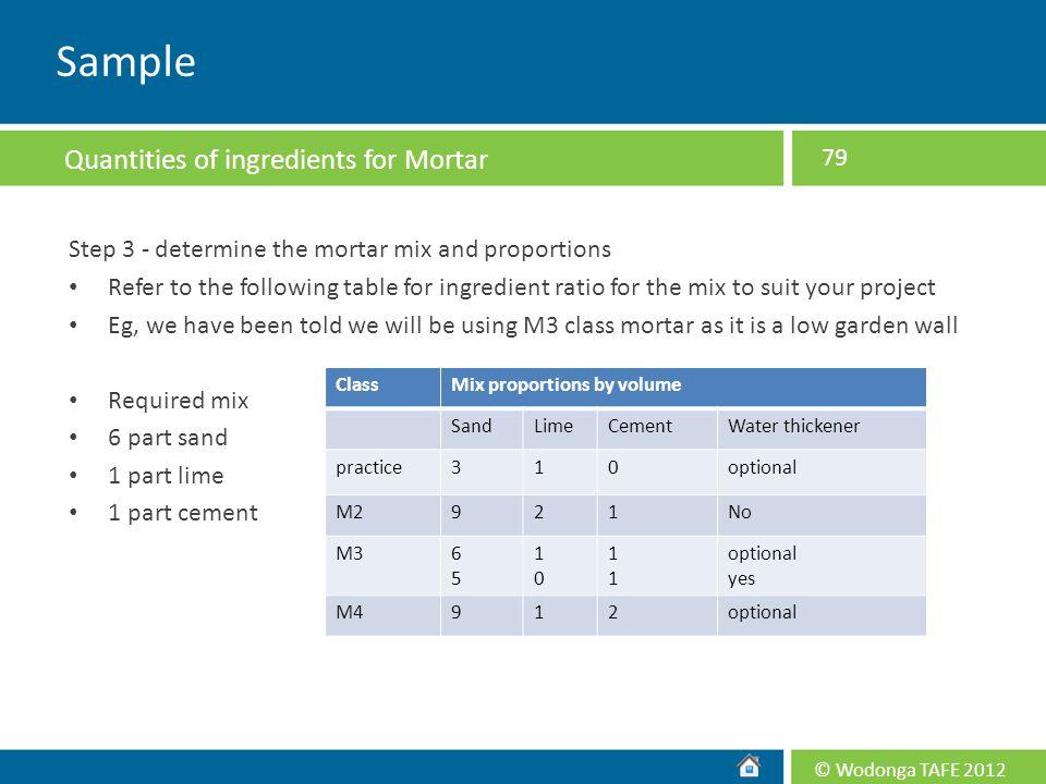 Sample Quantities of ingredients for Mortar