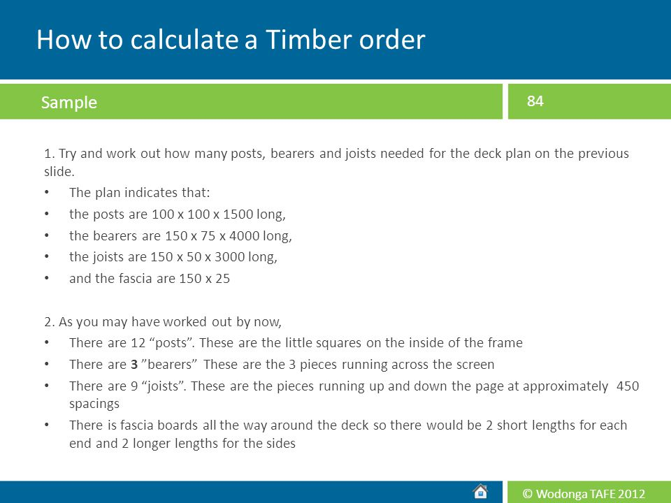 How to calculate a Timber order