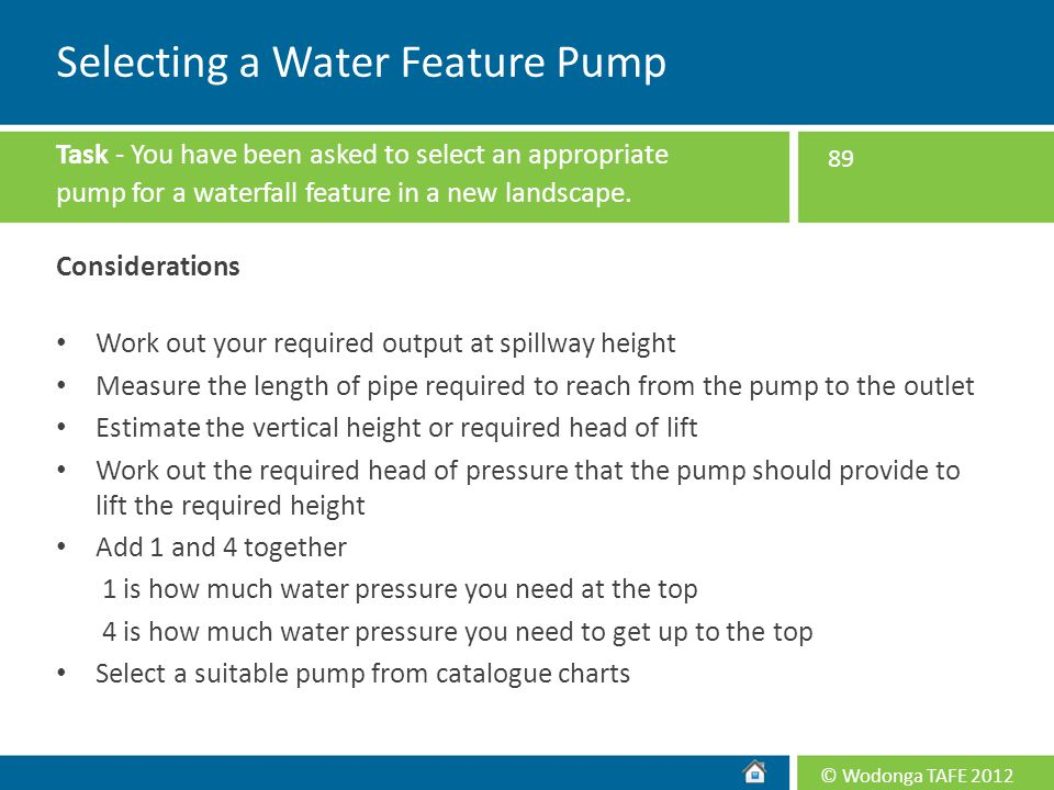 Selecting a Water Feature Pump