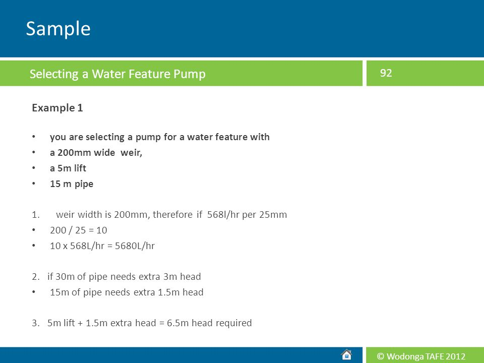 Sample Selecting a Water Feature Pump Example 1