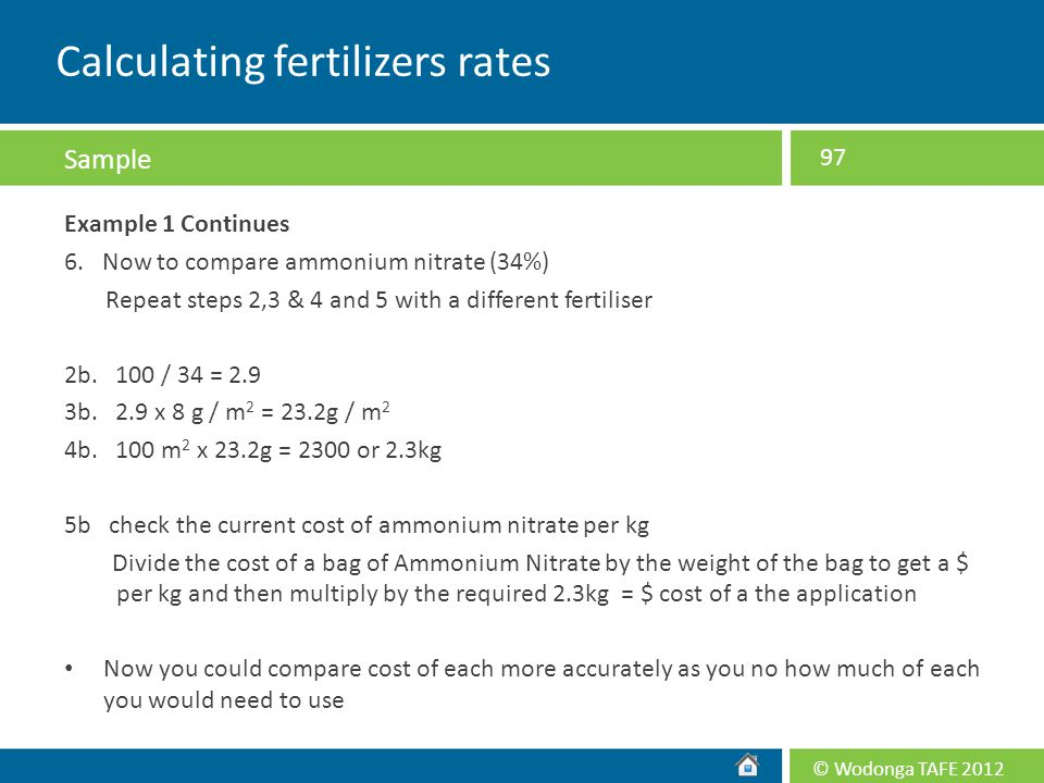 Calculating fertilizers rates