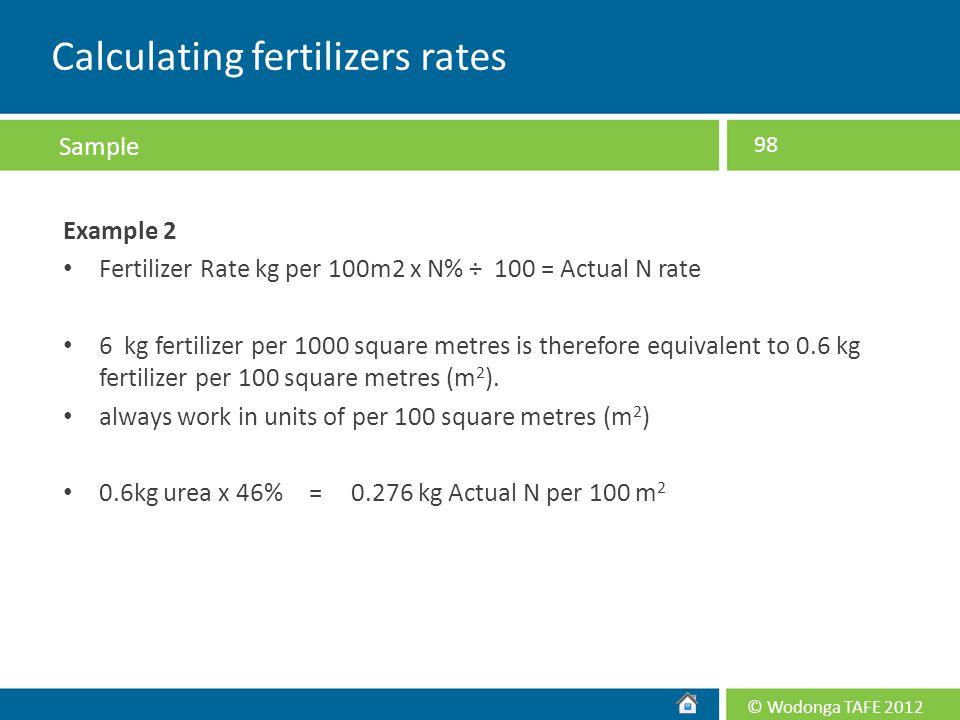 Calculating fertilizers rates