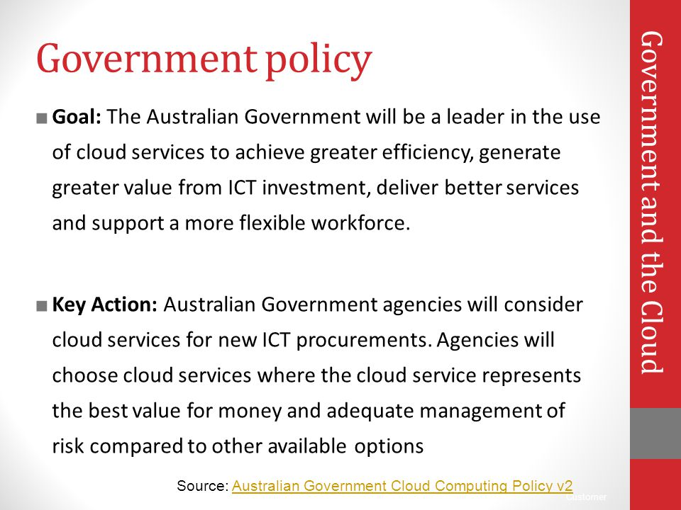 Government policy Government and the Cloud