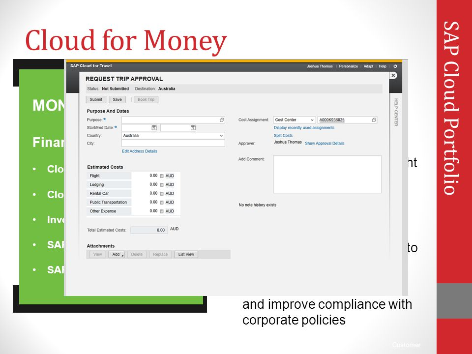 Cloud for Money SAP Cloud Portfolio Financial Cloud MONEY