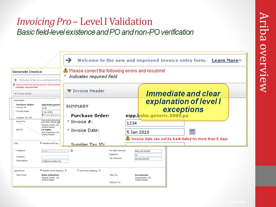 Immediate and clear explanation of level I exceptions