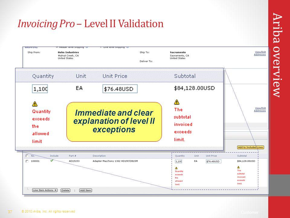 Invoicing Pro – Level II Validation