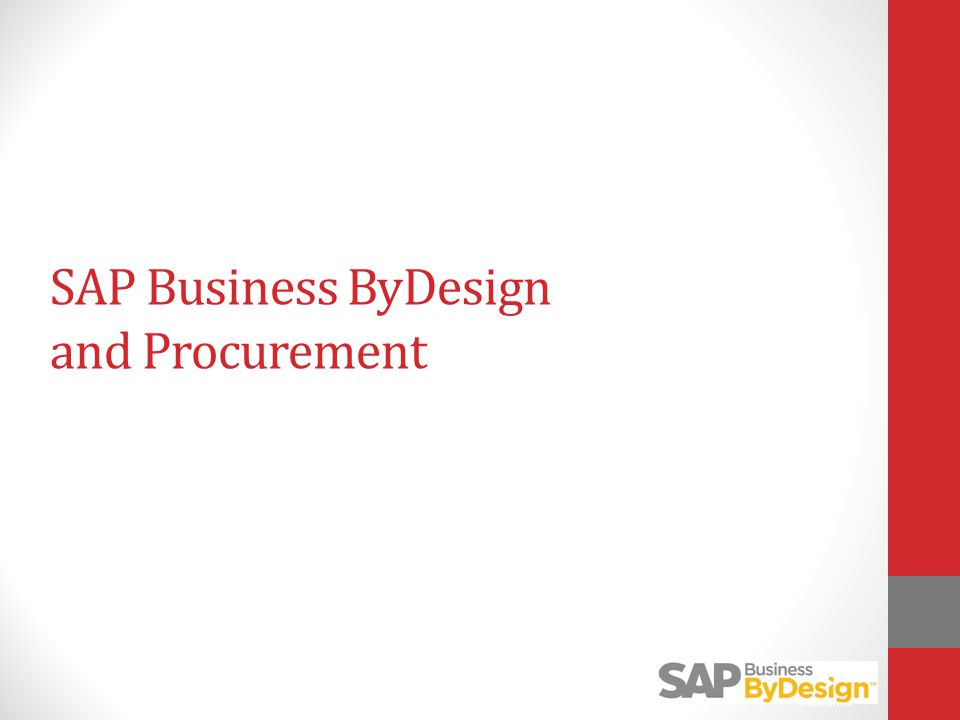 SAP Business ByDesign and Procurement