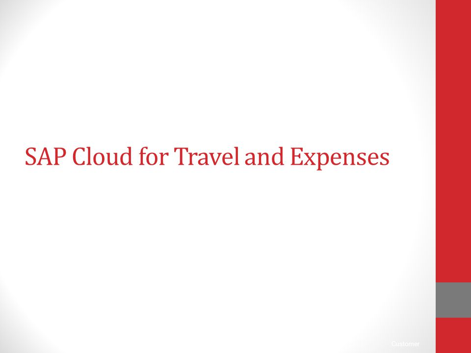 SAP Cloud for Travel and Expenses