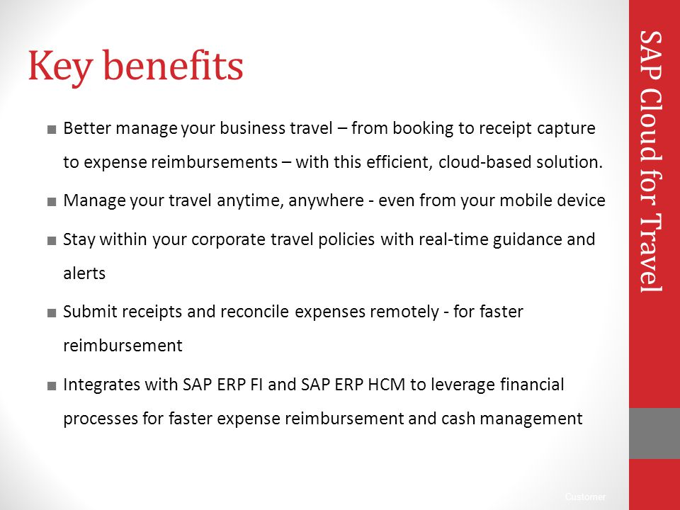 Key benefits SAP Cloud for Travel