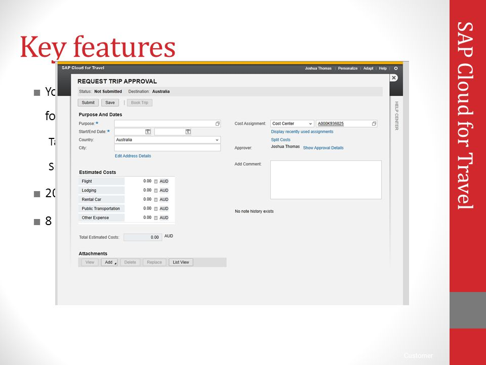 Key features SAP Cloud for Travel