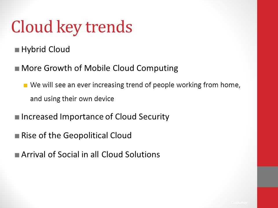 Cloud key trends Hybrid Cloud More Growth of Mobile Cloud Computing