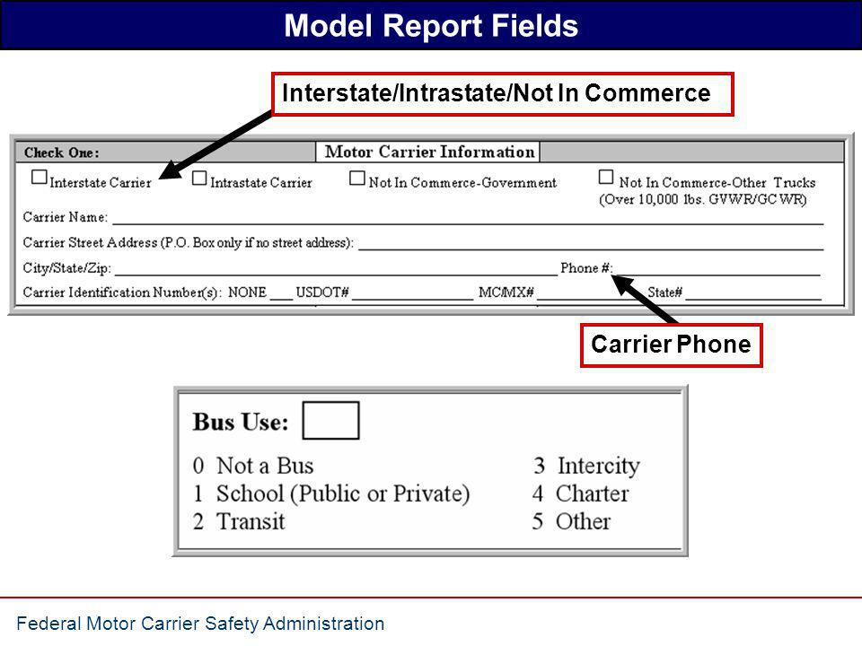 Model Report Fields Interstate/Intrastate/Not In Commerce