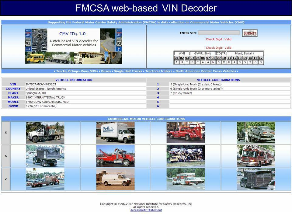 FMCSA web-based VIN Decoder