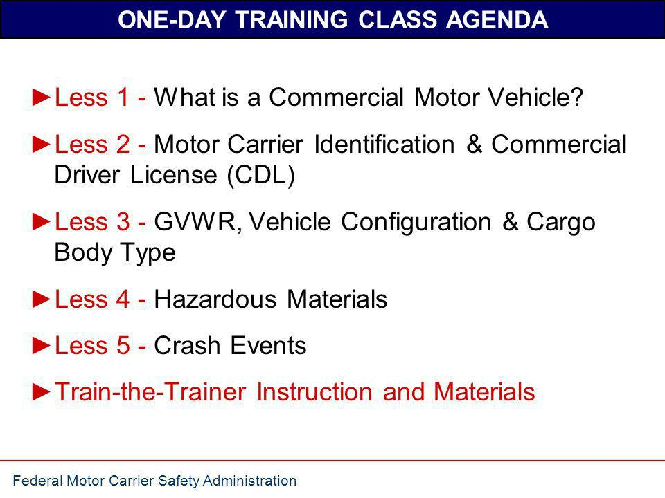 ONE-DAY TRAINING CLASS AGENDA