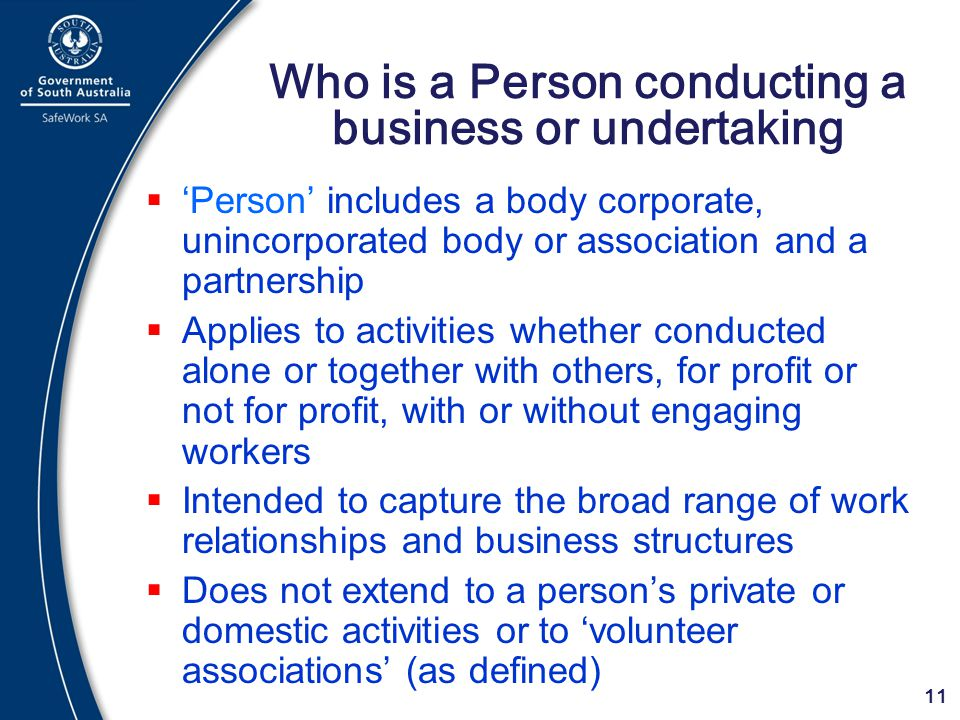 Who is a Person conducting a business or undertaking