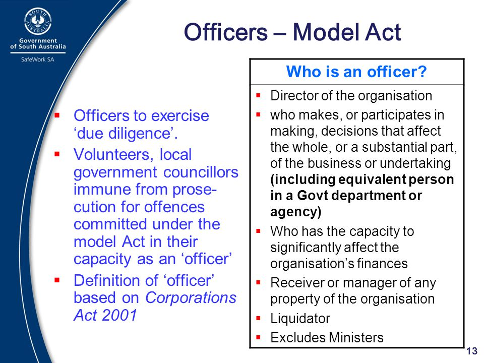Officers – Model Act Who is an officer