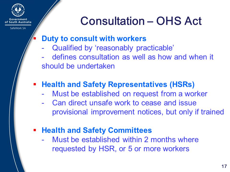 Consultation – OHS Act Duty to consult with workers