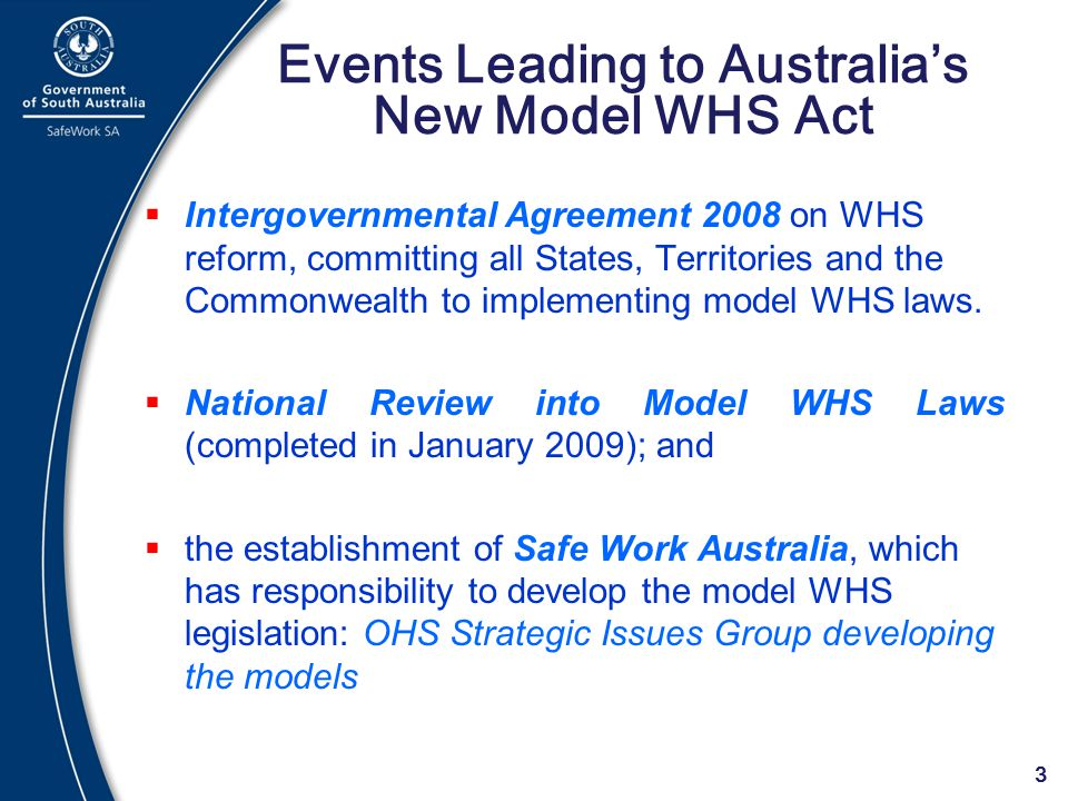 Events Leading to Australia's New Model WHS Act