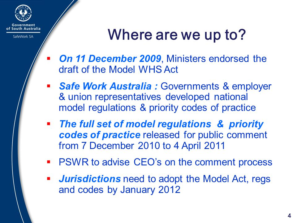 Where are we up to On 11 December 2009, Ministers endorsed the draft of the Model WHS Act.