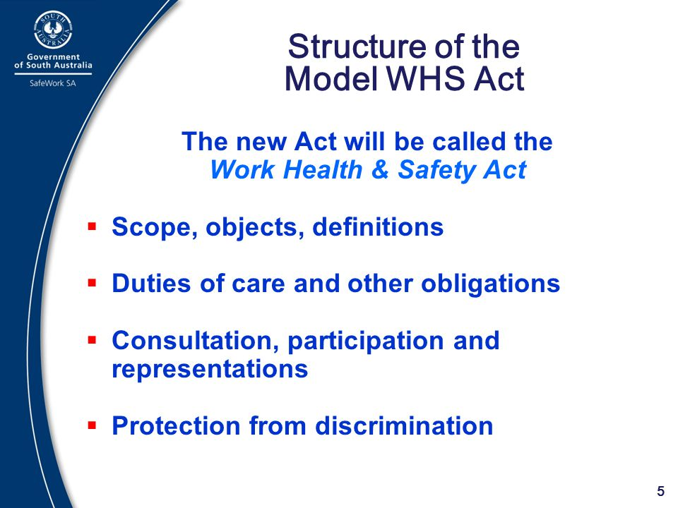 Structure of the Model WHS Act