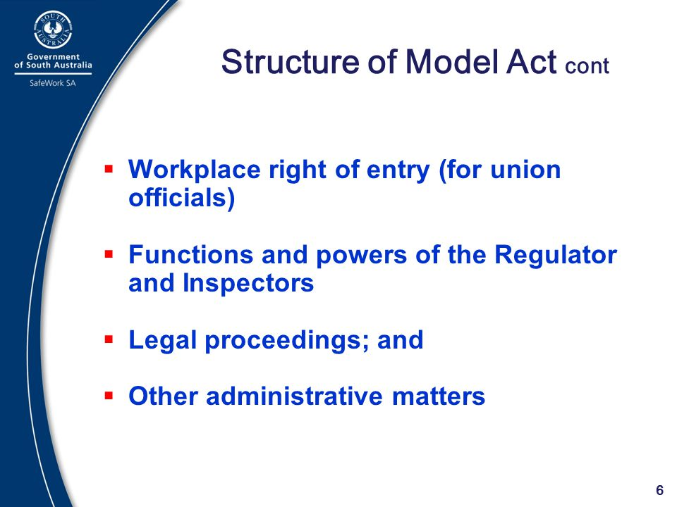 Structure of Model Act cont
