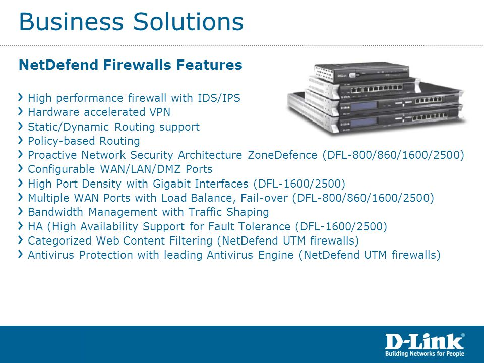 Business Solutions NetDefend Firewalls Features