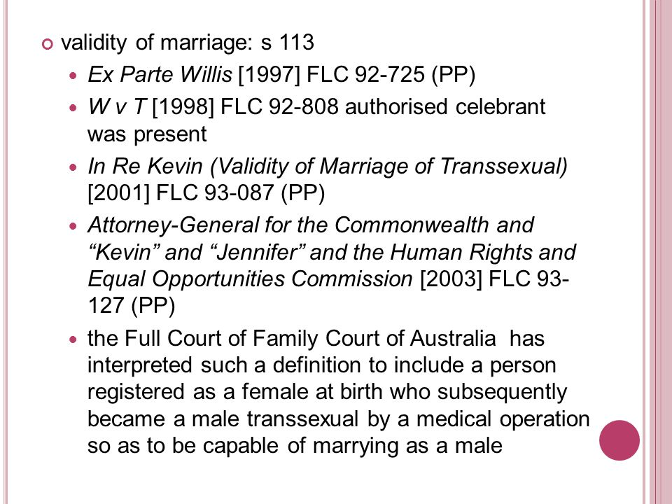 validity of marriage: s 113