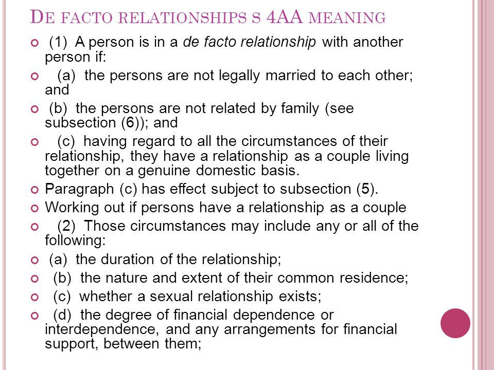 De facto relationships s 4AA meaning