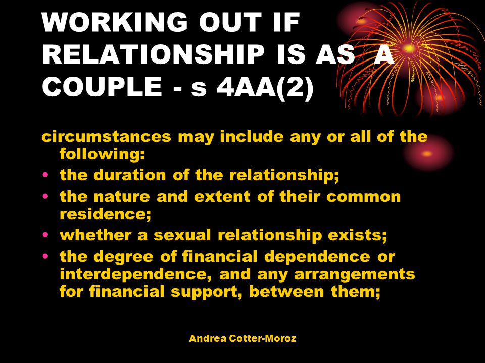 WORKING OUT IF RELATIONSHIP IS AS A COUPLE - s 4AA(2)