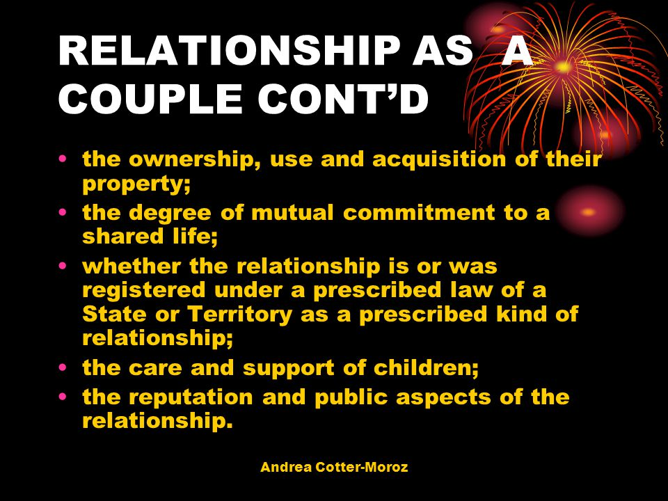 RELATIONSHIP AS A COUPLE CONT'D