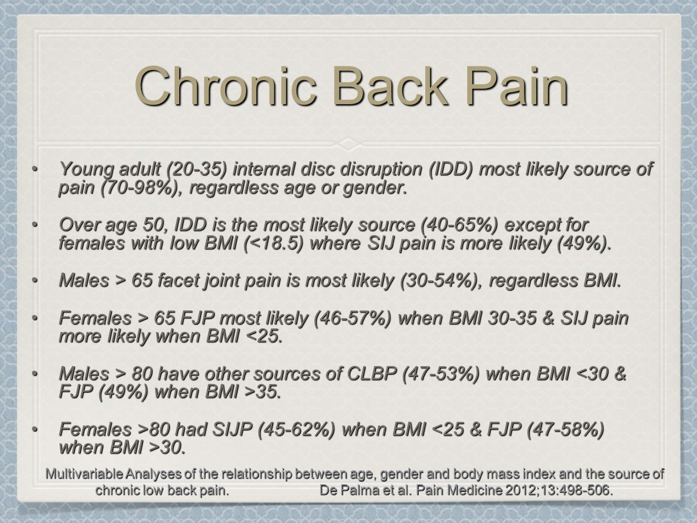Chronic Back Pain Young adult (20-35) internal disc disruption (IDD) most likely source of pain (70-98%), regardless age or gender.