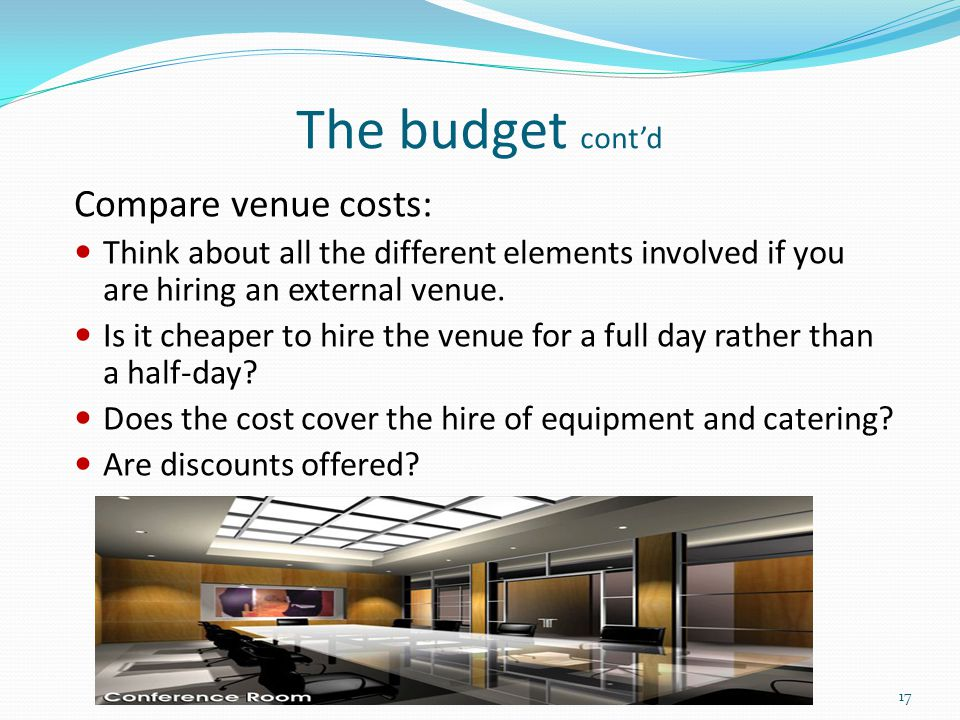 The budget cont'd Compare venue costs: