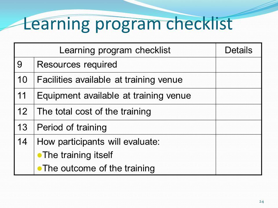 Learning program checklist