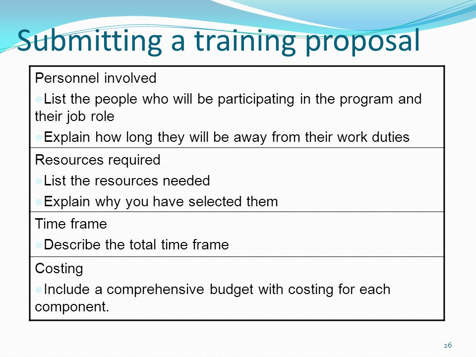 Submitting a training proposal