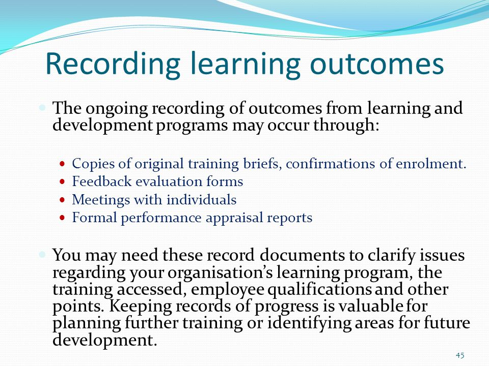 Recording learning outcomes