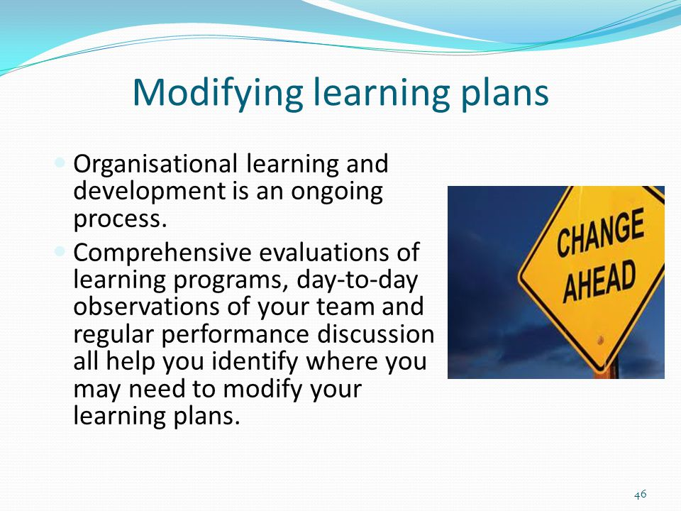 Modifying learning plans