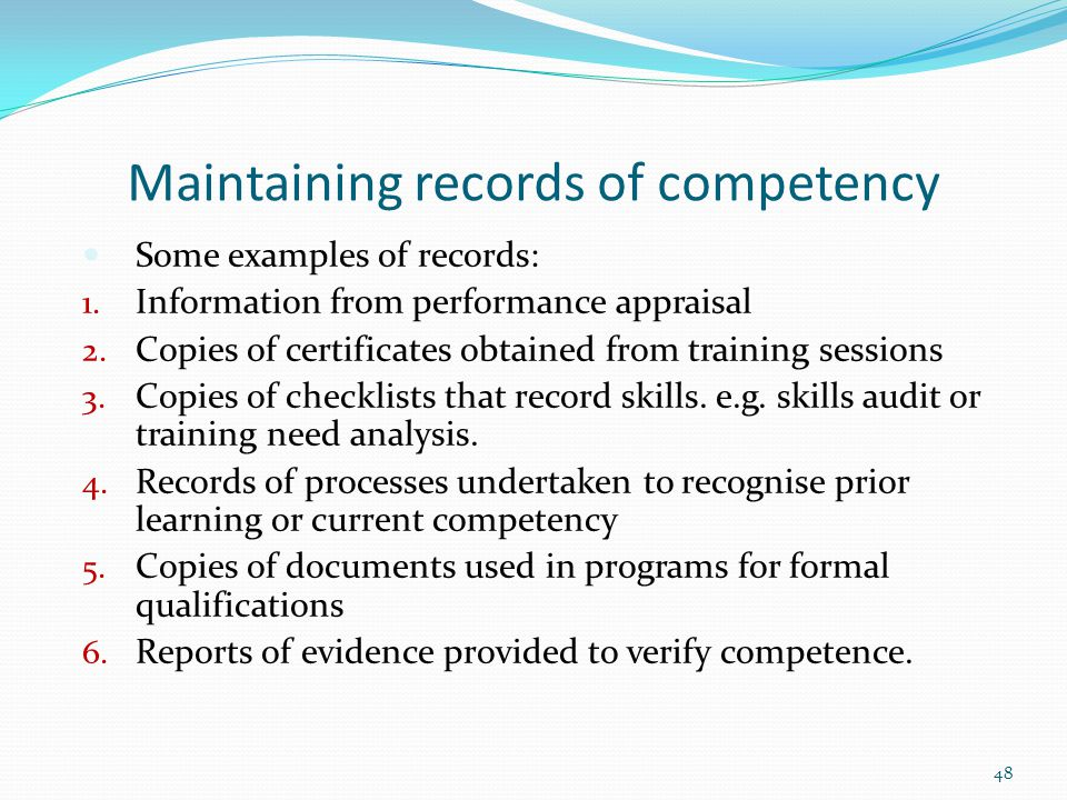 Maintaining records of competency
