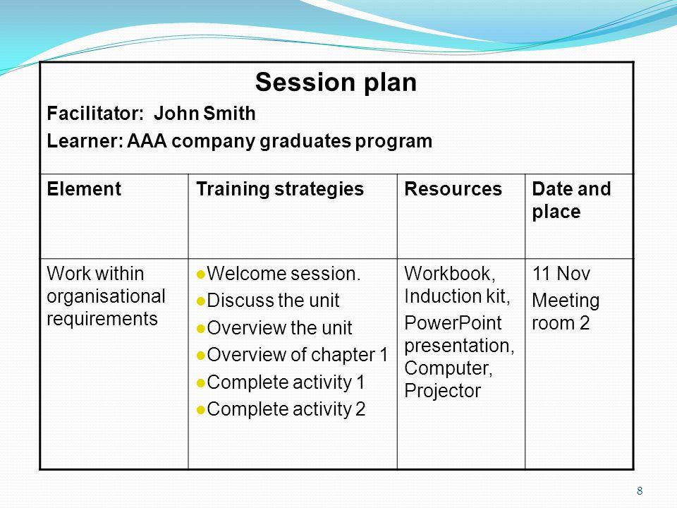 Session plan Facilitator: John Smith